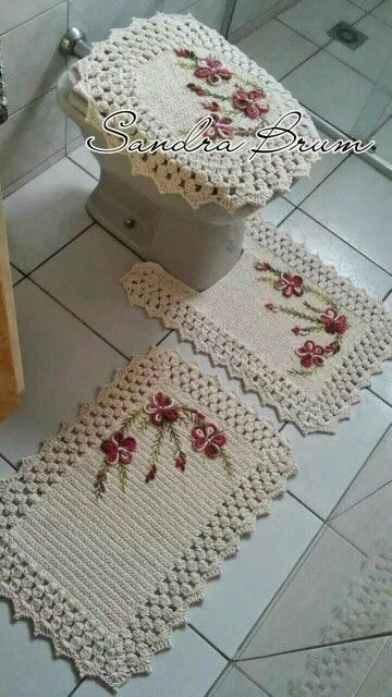 Tapete de Croche p Banheiro  PRoseCrochet  Crochê  Pinterest  Conjuntos D -> Tapete Para Banheiro Croche Simples