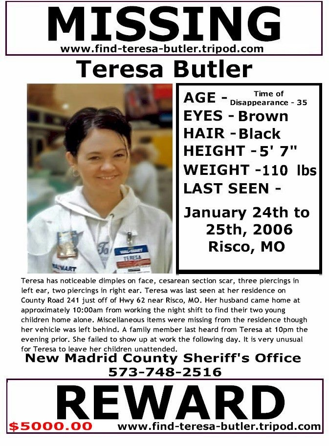 2/3/2013: $5,000.00 REWARD: Teresa Lynn Butler, now 42, disappeared from her home in RISCO, MISSOURI... pinned with Pinvolve