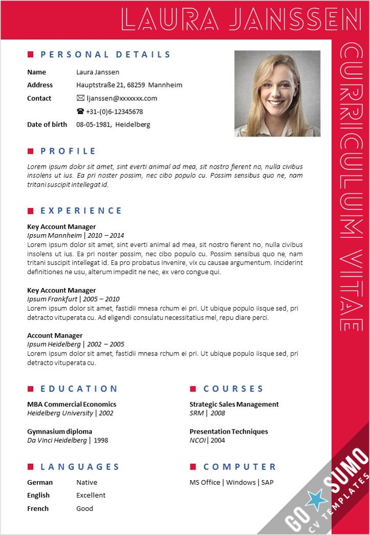 curriculum vitae english word template