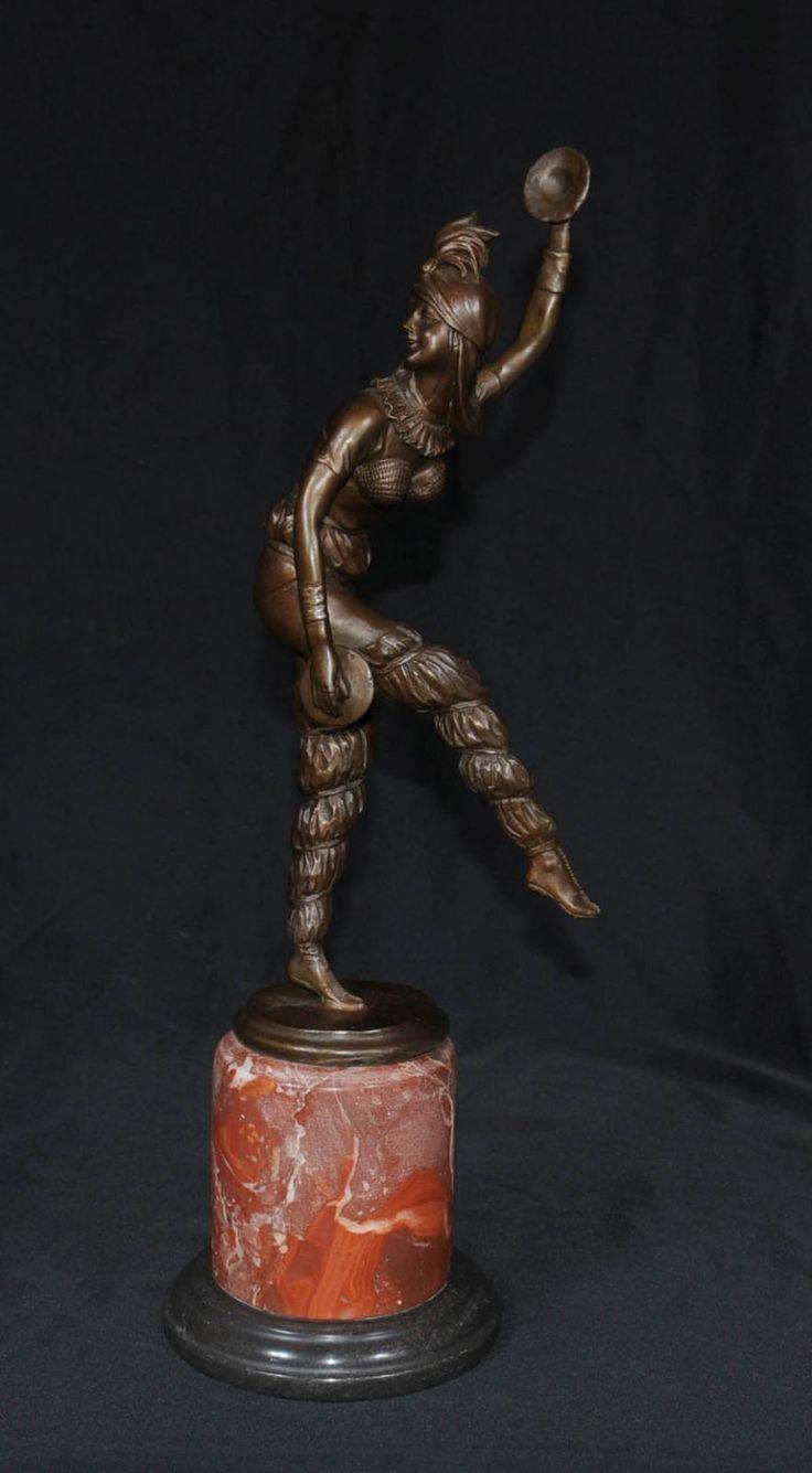 Bronze Chiparus Art Deco Figurine Cymbal Harlequin Dancer