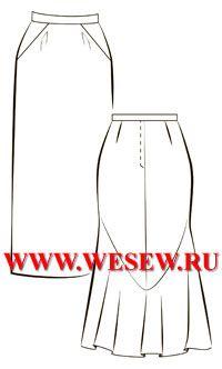 Выкройка юбки в складку по талии