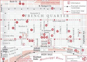 French Quarter Map With Attractions New Orleans Maps