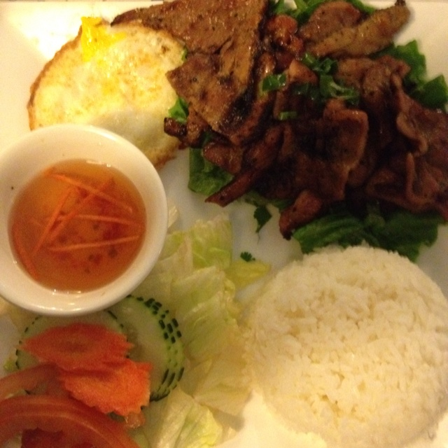 Grilled pork with Fried egg and rice at Tay Giang!