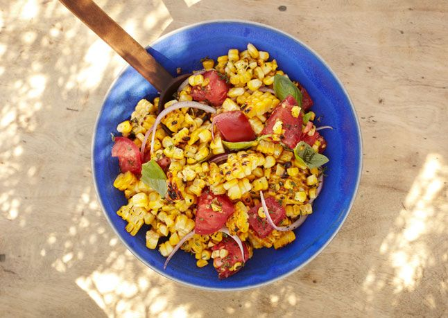 Charred Corn Salad with Basil and Tomatoes | Recipe