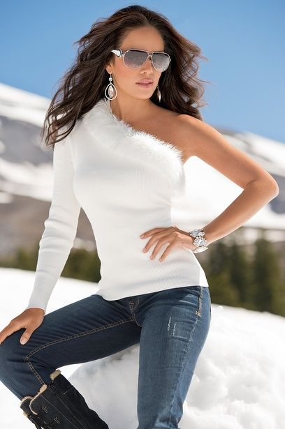 Glam One-Shoulder Sweater