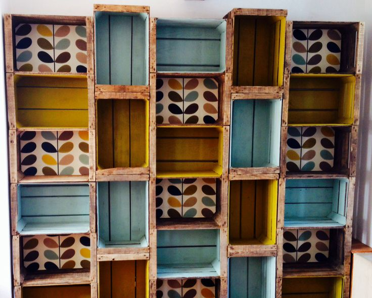 Vintage wooden boxes shelf | Home projects | Pinterest