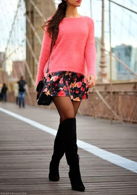 Pink Sweater, Floral Skirt and Knee Long Boots