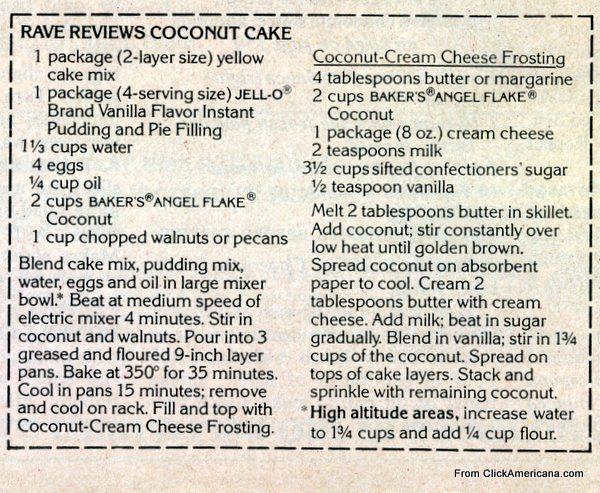 Rave reviews coconut cake recipe (1978)