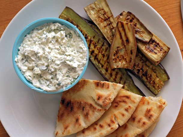 man oh man oh MAN. grilled eggplant with creamed feta. i don't see ...
