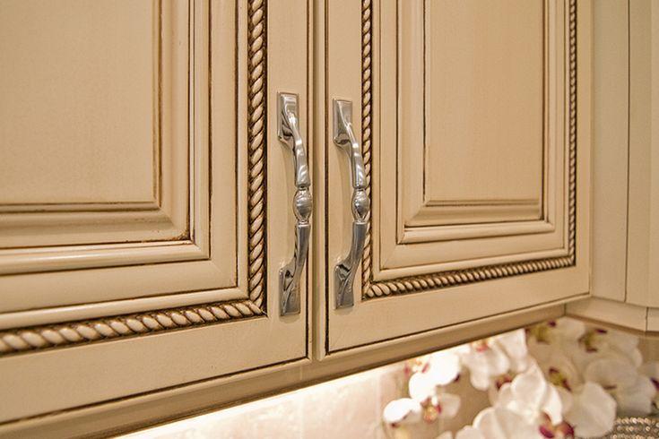 dream kitchen Almond Cream Kitchen Cabinets with Chocolate Pin Glaze