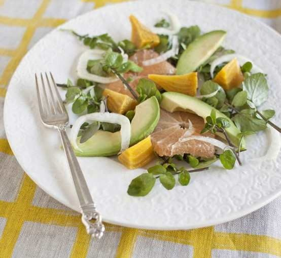 Golden Beet Salad With Watercress, Fennel, Avocado And Grapefruit.