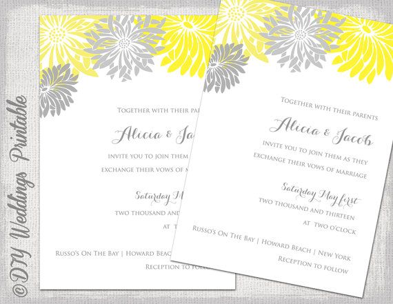 Wedding invitation template yellow & gray DIY summer wedding ...