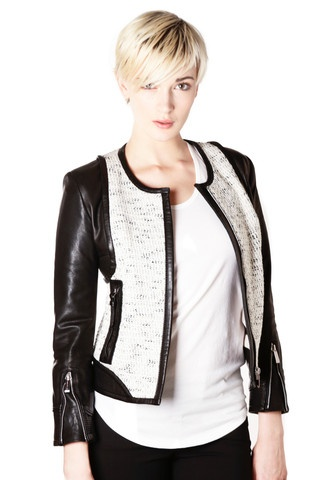 Women's Leather Tweed Jacket | What's New Women | Pinterest