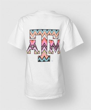 multi-colored, tribal inspired Texas Aggies on the front pocket and block ATM center back. Printed on a white comfort tee, this simple but comfy shirt adds a certain casual and funky flare for any day of the week.