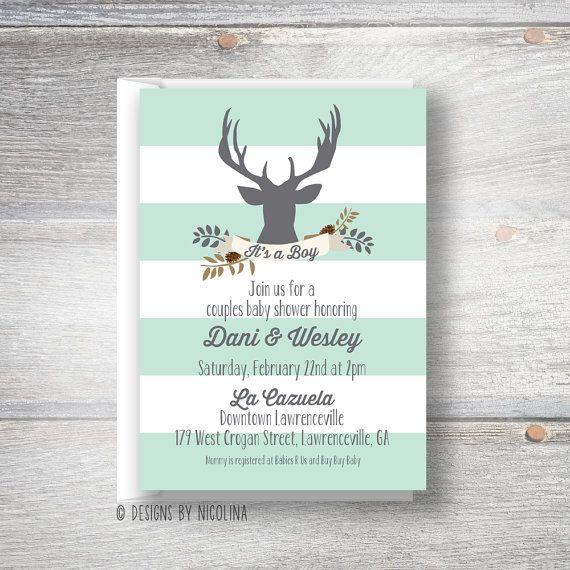 little antlers woodland deer baby boy shower invitations