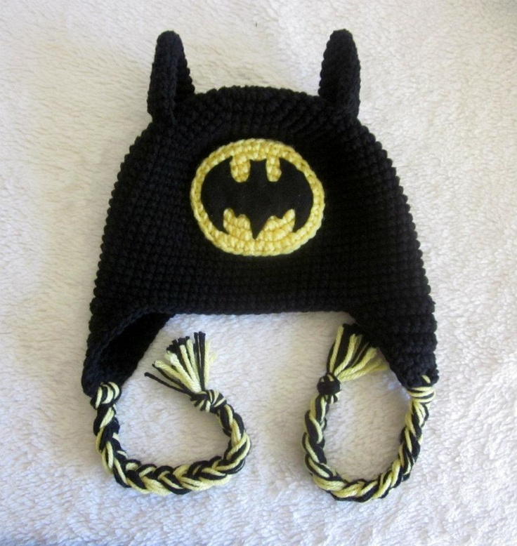 Free Crochet Pattern For Batman Hat : Batman Hat crochet Pinterest
