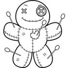 Cartoon Voodoo Doll Happy (Black and White Line Art)