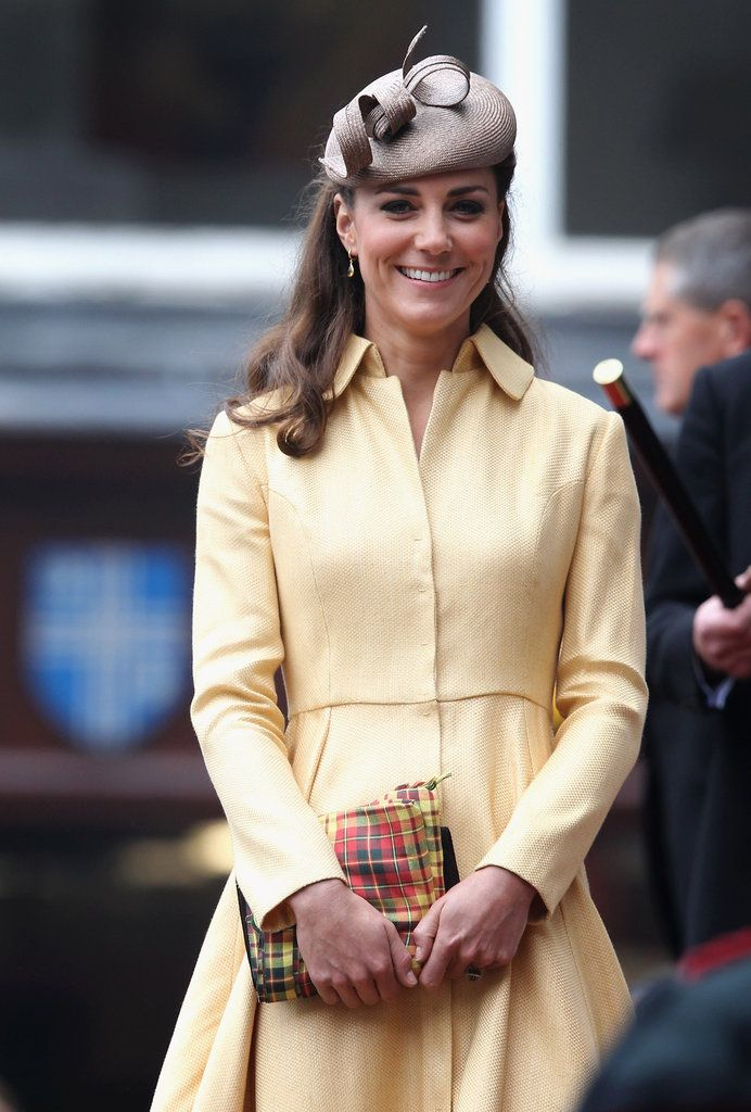 Kate in a yellow Emilia Wickstead for Prince William's Thistle Ceremony in Edinburgh