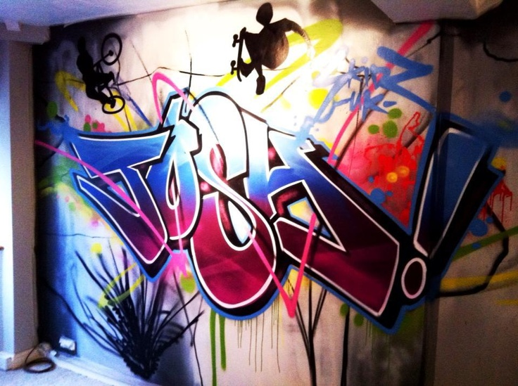 children / teen / Kids Bedroom Graffiti mural - hand painted Josh urban Detail graffiti bedroom design #graffitibedroom #interior design