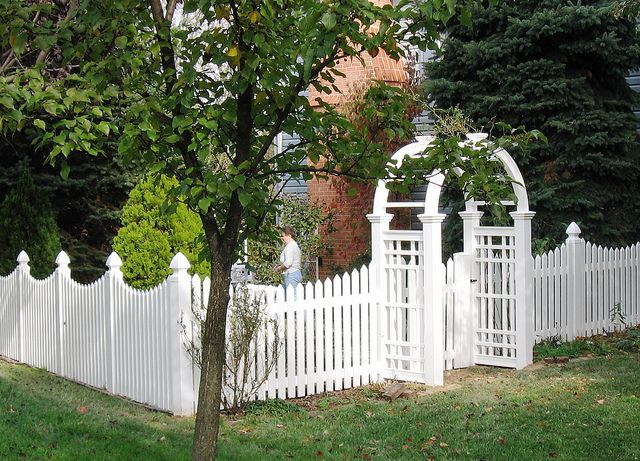 Picket fence with arbor google search garden art for Fence with arbor