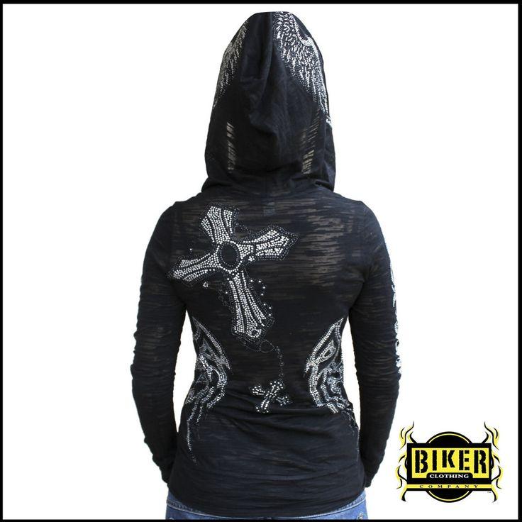 custom burn out rosary cross sleeve hoodie