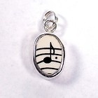 Broken China Jewelry Music Note Sterling Charm -114