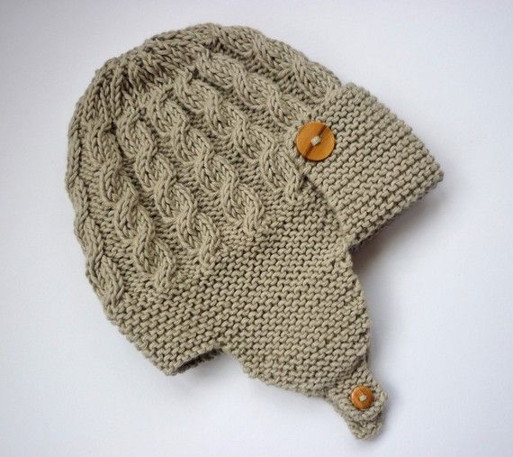 Child Crochet Aviator Hat Pattern : Cabled Baby aviator hat Knitting Pattern DAYTON Instant ...