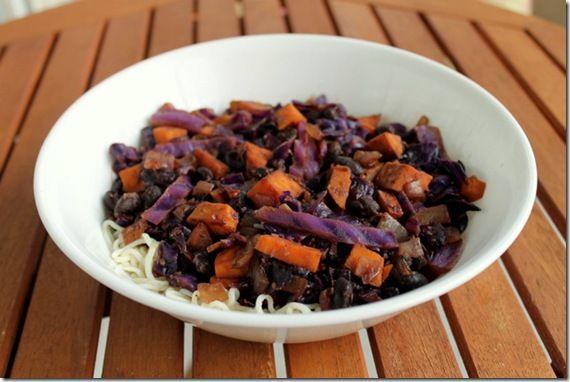 sweet potato, black bean & cabbage stir fry–