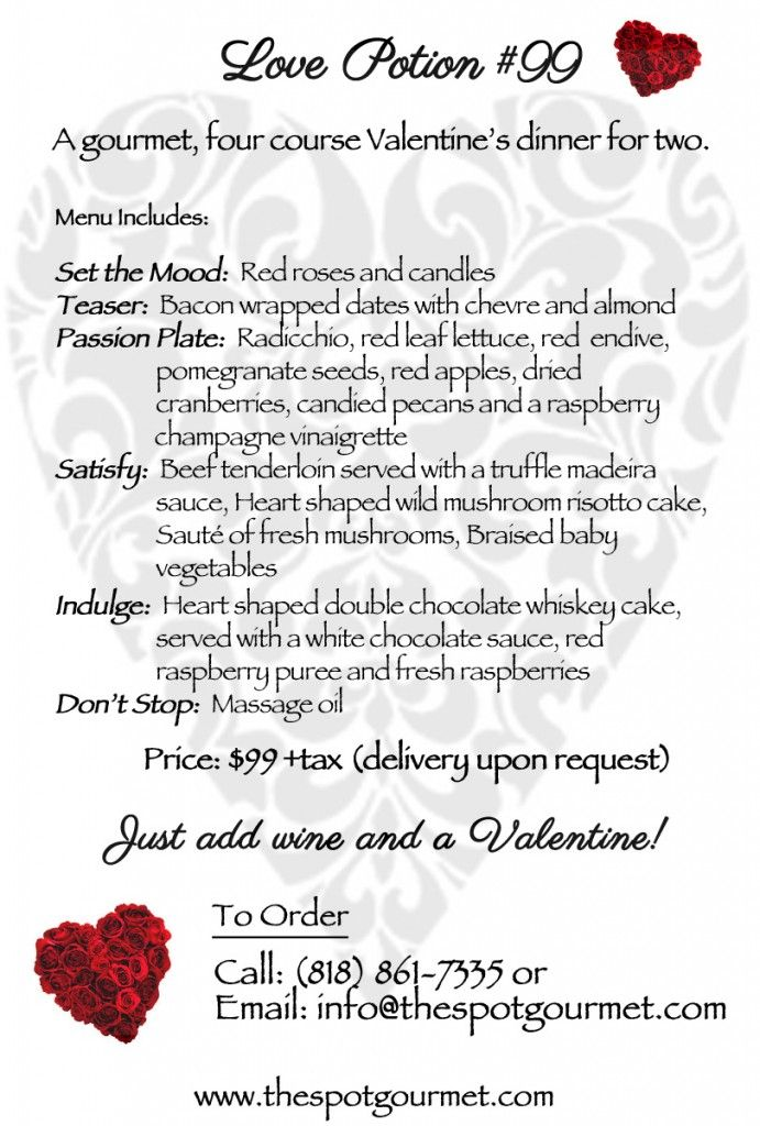 valentine's day 4 course meal