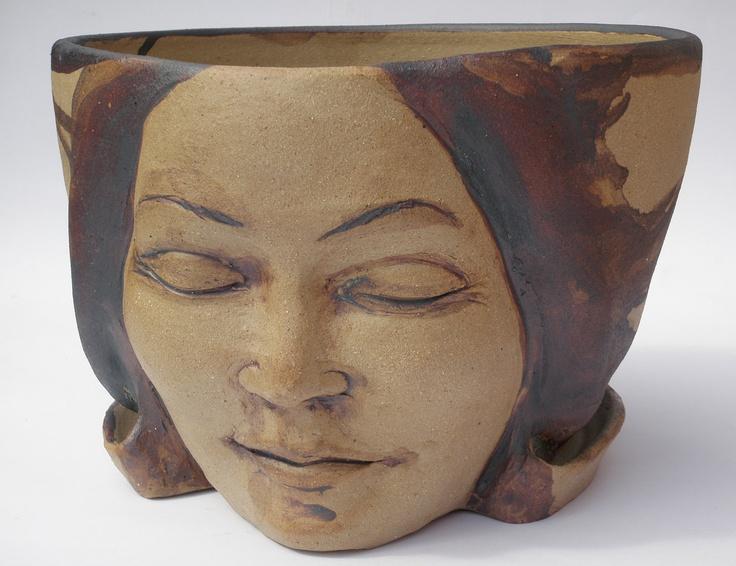 Planter Head Face Sculpture Ceramic Flower Pot Indoor