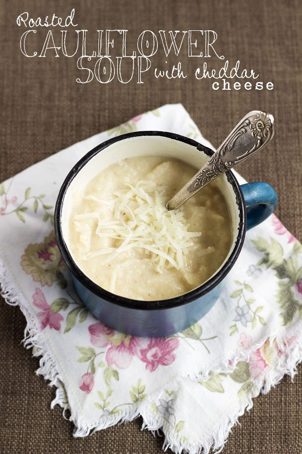 ... Roasted Cauliflower and Cheddar Cheese Soup (recipe in Russian with an