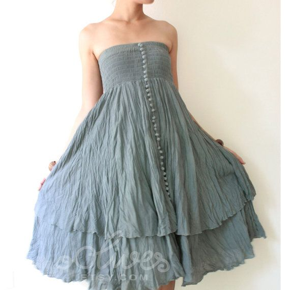 Strapless Ruffle Cotton Dress or Maxi Skirt in Green by oOlives, $42.00