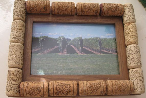 Wine cork picture frame FREE SHIPPING by cec1983 on Etsy, $10.00