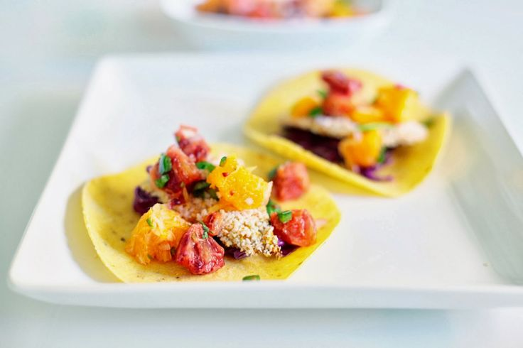 More like this: fish tacos , blood orange and salsa .