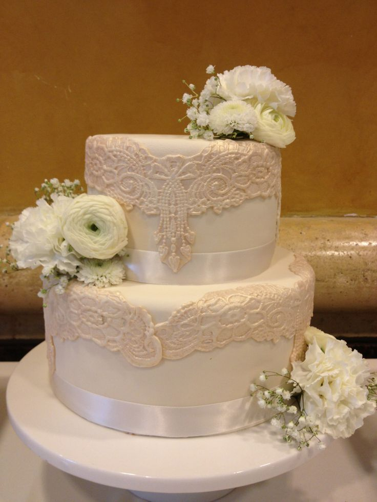 Wedding Cake Pretty Lace Very Elegant With Ribbon Boarder Cake