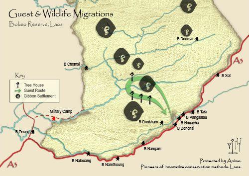 Bản đồ du lịch trong khu bảo tồn tự nhiên Bokeo