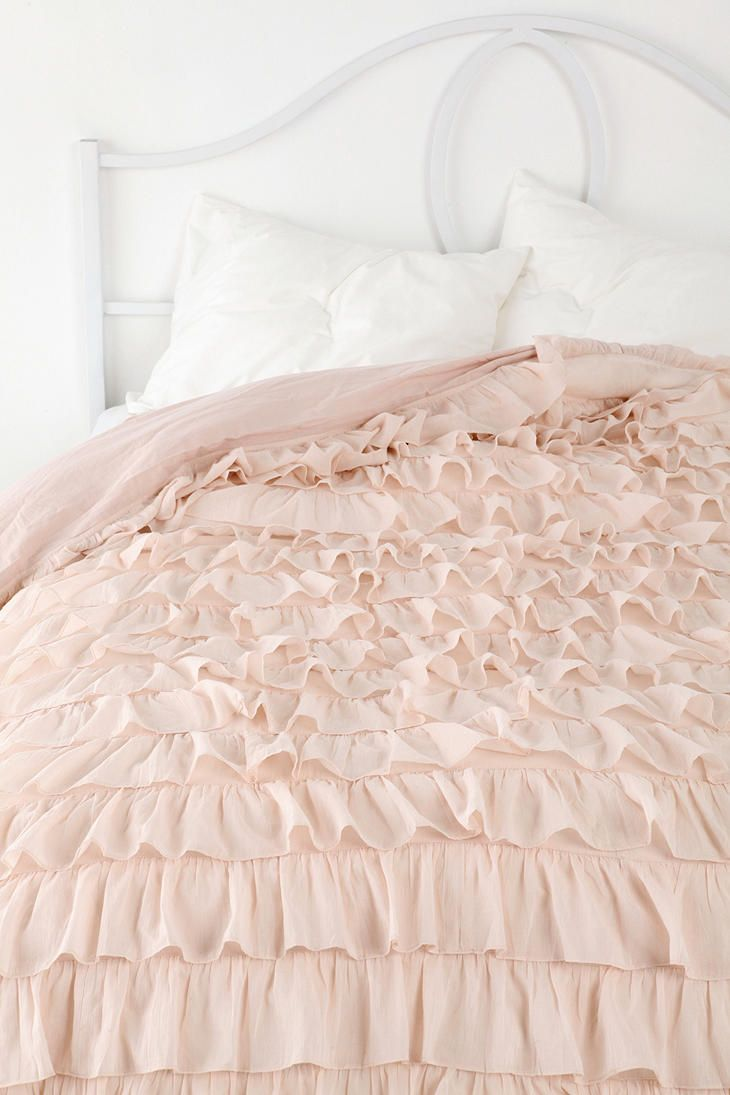 Waterfall ruffle duvet cover for the home pinterest for Frilly bedspreads