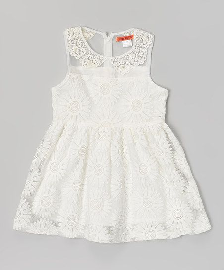White daisy lace dress toddler girls for Daisy lace wedding dress