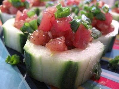 Tuna Tartare in Cucumber Cups | Light Bites | Pinterest