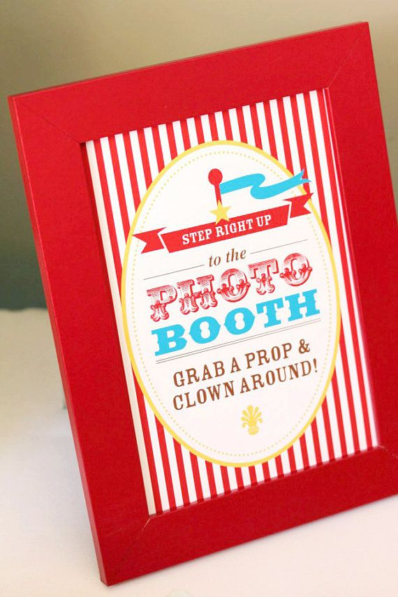 CIRCUS Photo Booth Sign  Print Your Own by SweetScarletDesigns, $5.00