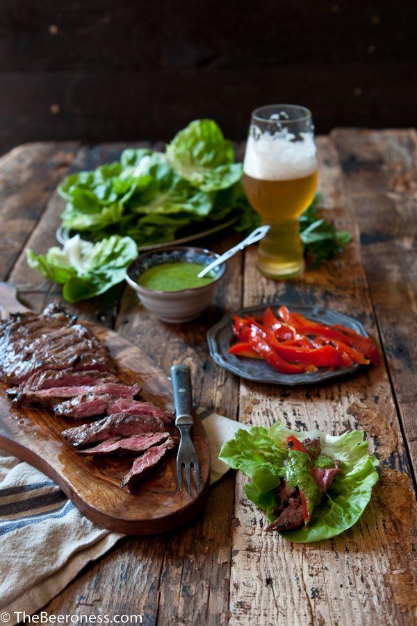 Porter Marinated Flank Steak Lettuce Wraps with IPA Chimichuri | Reci ...