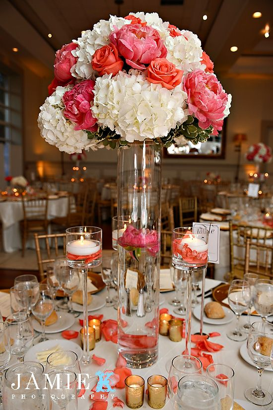 Gallery for gt coral and white wedding centerpieces