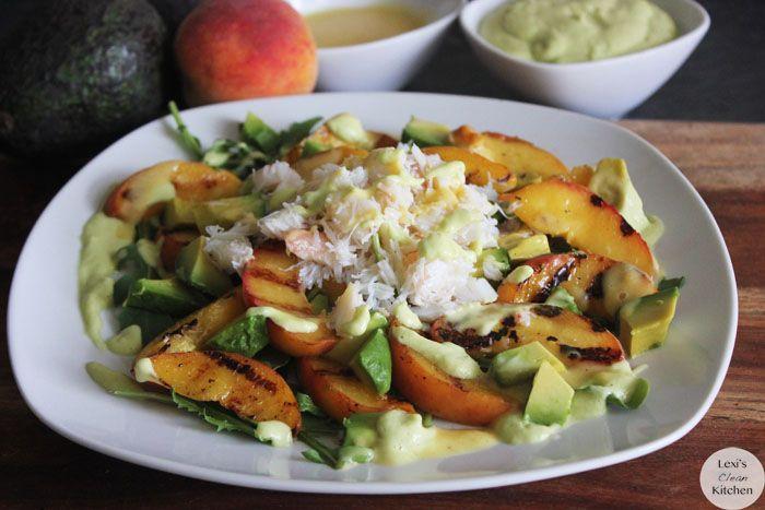 Grilled Peach, Avocado, and Crab Salad with Avocado Dressing & Peach ...