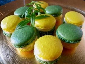 Bright yellow lemon and green verbena macarons