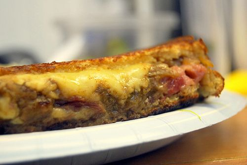 Corned Beef Grilled Cheese Sandwich with Guinness Caramelized Onions