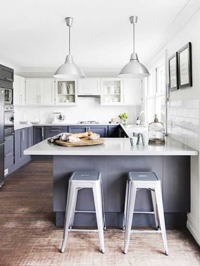 Having a Moment Blue Gray Kitchen Cabinets  Tolix stool, industrial