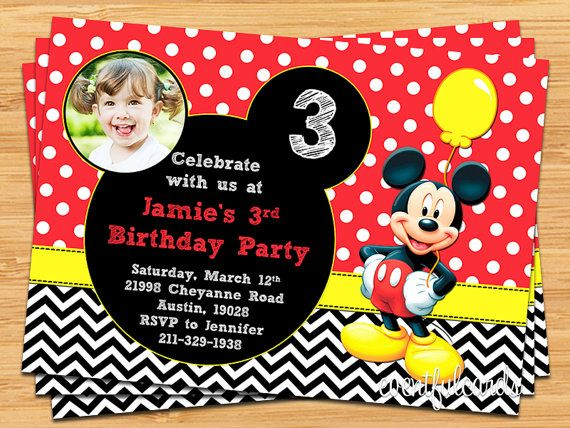 Mickey Mouse Kids Birthday Party Invitation by eventfulcards