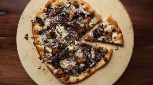 Pizza Made With Chanterelles, Radicchio And Taleggio