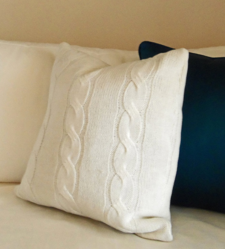 Knit Sweater Pillow - Cozy Cream 18 x 18 in