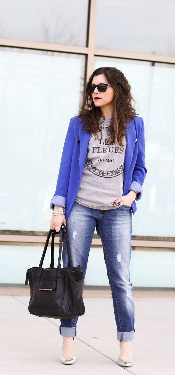 boyfriend jeans cobalt blazer and a gray tee with metallic heels {@FashionEdible}